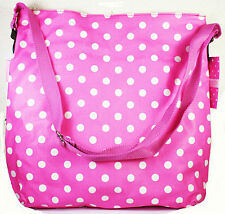 Pink White Polka Dot Ladies Cross Body Bag With Pockets Womans Accessory NEW
