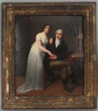 19thC Antique Romantic Couple Neoclassic Woman & Man Portrait Oil Painting,
