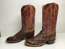 #W2 VTG MENS LUCCHESE SQUARE TOE COWBOY PIRARUCU SKIN BROWN BOOTS SIZE 8.5 D