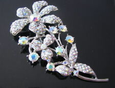 Broches, alfileres y pines de bisutería color principal plata cristal