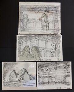 4 Ed Koren New Yorker Artist Original Ink Cell Art Cartoon Drawings Signed