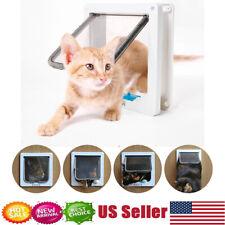 White 4Way Locking Lockable Pet Cat Puppy Dog Magnetic Flap Door Gate 22x19.2cm