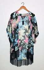 Mixit NEW Floral Fringed Kimono Black Pink Sheer Open Front Textured One Size