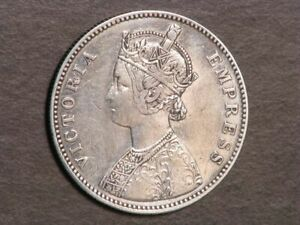 INDIA 1884B 1 Rupee Silver VF