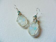 Delicate snowflake sparkle earrings -hand painted sea glass sterling silver