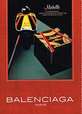 PUBLICITE ADVERTISING 025  1980  BALENCIAGA  parfum eau de toilette MICHELLE