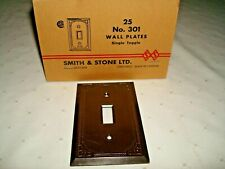 Vintage Brown Bakelite Electrical Switch Plate Cover Art Deco Diamond Dot