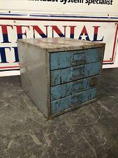 Vintage Industrial Small Metal 4 Drawer Parts Storage Box Cabinet Organizer