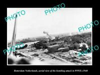 OLD LARGE HISTORIC MILITARY PHOTO ROTTERDAM HOLLAND AERIAL VIEW BOMBING c1940