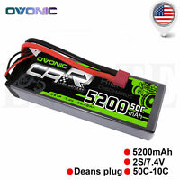 Ovonic 50C 7.4V 5200mAh 2S Lipo Battery for Traxxas RC Car Short Course Truck