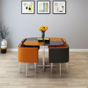 Tempered Glass Dining Table/Cafe Table & 4 Chairs / Chair Set Home, Furniture