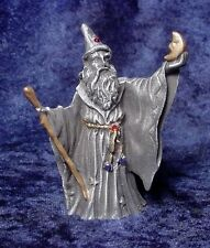Pewter Wizard - Holding Crescent Moon - Crystal Accents