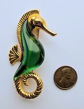 Vintage Trifari Large Gold Tone & Green Lucite Sea Horse Brooch Pin