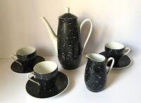 Mid Century Coffee Set Walbrzych Poland, Vintage Black White Atomic Pottery