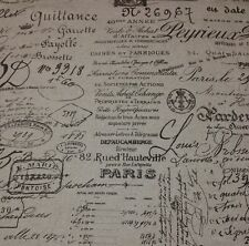 "BALLARD DESIGNS DOCUMENT BROWN FRENCH SCRIPT FABRIC REMNANT 26"" LONG X 55"" W"