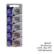 Maxell 377 SR626SW Silver Oxide Watch Batteries (100 Batteries)