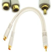 """6""""inch HQ GOLD RCA Y Splitter,Male~Dual FEMALE,Audio/Video cable Adapter {WHITE"""