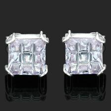 SPUMANTE CROCE TAGLIO Ametista Zircone Argento Sterling a forma di quadrato Orecchini & BOX