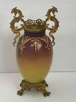 Old Bohemian Enameled Glass & Bronze Ormolu Vase (1884-1894) Signed T & M IV/202