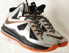 finest selection d2c9e bb54d Nike Lebron X10 541100-800 Grey Orange High Top Basketball Athletic Men s  US 11