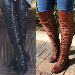 Womens Ladies Plus Size Boots Thigh High Over Knee Stiletto Heel Lace Up Shoes