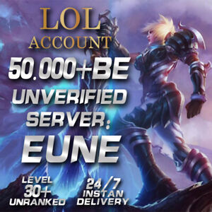 League of Legends Account EUNE LOL Smurf 50.000 - 60.000 BE IP Level30+ Unranked