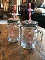 CIRCLEWARE Set Of 2 Glass Country MASON Jar MUGS With Reusable Straws