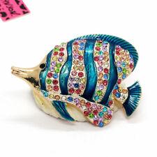 Hot Cute Multicolor Enamel Tropical Fish Crystal Betsey Johnson Charm Brooch Pin