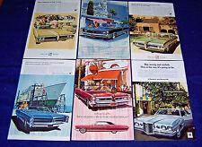 Lot of 6 PONTIAC Car Ads~ 1963-1969 ~Safari, Bonneville, Grand Prix, Convertible