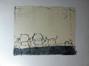 Unleserlich signiert - Abstrakte Komposition. Handsignierte Druckgrafik.