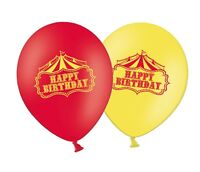 "Happy Birthday - Circus 12"" Latex Red & Yellow Assorted Balloons Pack of 5"