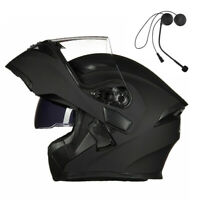 Motorcycle Visor Flip up Modular Full Face Helmet With Bluetooth Headset DOT