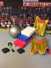 "WWE Wrestling Mattel Accessory Lot 6"" Figures Podium Cena Hat Disco Ball Razor"