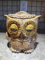 Vintage Ceramic Owl Lidded Canister Cookie Jar Brown Turnabout Two Sided Small