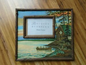 "Rustic Birch Bark Twig Wall Decor Canvas Cabin Lodge Picture frame 4.5"" x 6.5"""