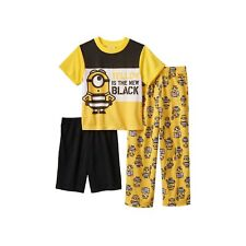 Despicable Me 3 Yellow Is The New Black Minions Boys 3-Piece Pajama Set Sz 8 NEW