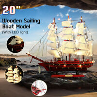 "20"" LED Light Wooden Craft Nautical Sailor Ship Sailing Boat Wood Sailboat Model"