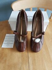Evans Ladies Brown leather slip on shoes  size 8 /41 New boxed
