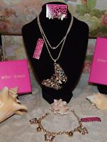 3 PC BETSEY JOHNSON GORGEOUS CRYSTAL BUTTERFLY NECKLACE EARRINGS & CHARM BRAC