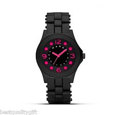 NEW MARC JACOBS PELLY BLACK SILICONE WRAPPED S/STEEL+PINK DIAL WATCH-MBM2530+BOX
