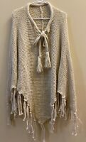 Womens Beige Cable Knit Poncho Sweater Fringe One Size, Winter Wear Lightweight