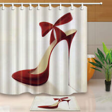 Ms High Heels Bow-knot Shower Curtain Liner Waterproof Fabric Bathroom Mat Rug