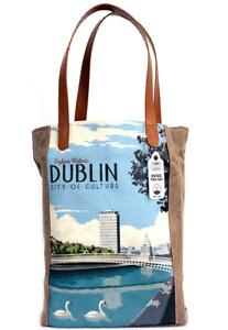 Retro VIntage Travel Style / Tote Bag -  Cotton Canvas / Denim / Leather  DUBLIN