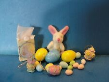 Dollhouse Easter bunny, shopping bag, and Easter eggs, decorated lot set