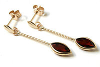 9ct Gold Garnet Long Drop Marquise Earrings Made in UK Gift Boxed
