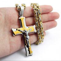 Men stainless steel Gold Silver Black jesus cross pendant chain necklace AU