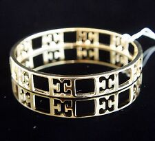 Escada Bangle Bracelet With Leather Box Sterling Silver 925 Gold Plated Neu