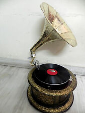ANTIQUE ROUND GRAMOPHONE PHONOGRAPH BRASS CRAFTED HORN SOUND BOX NEEDLE SET