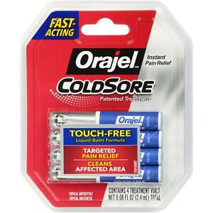 Orajel Cold Sore Treatment Pain Relief Fast Acting Touch Free Exp 5/23, 4 Vials