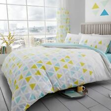 GEO TRIANGLE DOUBLE DUVET COVER SET REVERSIBLE GEOMETRIC BEDDING - TEAL